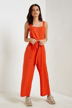 Shop UO Emilia May Button-Through Jumpsuit at Urban Outfitters today. We carry all the latest styles, colours and brands for you to choose from right here. Casual Jumpsuit, Jumpsuit Dress, Playsuit, Urban Outfitters, Girl Fashion, Fashion Outfits, Fashion Spring, Runway Fashion, Clothes