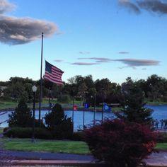 WWII Veterans Memorial, Pierre, SD, flags flown at half staff in honor of the Naval Yard shooting