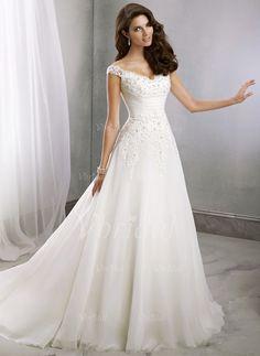 Wedding Dresses - $188.32 - A-Line/Princess V-neck Court Train Chiffon Wedding Dress With Beading Appliques Lace (0025091381)