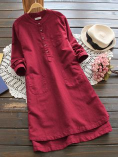 Gracila Women Pure Color Long Sleeve Buttons Vintage Shirt Dresses