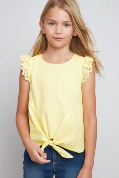 Girls Lemon Eyelet Ruffle Shirt