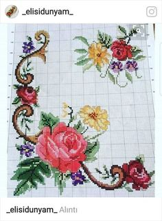 This Pin was discovered by Оля Cross Stitch Pillow, Cross Stitch Rose, Cross Stitch Borders, Cross Stitch Flowers, Cross Stitch Charts, Cross Stitch Designs, Cross Stitching, Cross Stitch Embroidery, Hand Embroidery