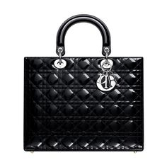 """The timeless and unique """"Lady Dior"""" bag is a work of art imbued with Dior Couture spirit. Size: 32 x 25 x 11 cm - In its new large bag format in black rounded patent leather and distinctive for its Dior signature 'Cannage' stitching. - Can be carried in the hand or worn on the wrist.  - """"D.i.o.r"""" letters in silver-tone metal. - 1 zipped pocket 1 pocket for mobile phone"""