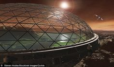 SpaceX founder says we must colonise red planet or face extinction: A futuristic design of a protective dome on Mars.