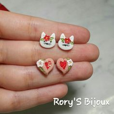Cats And Hearts  (polymer Clay applique earrings)