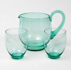 Sea-blus glass waterset, waterjug with two beaker glasses, design A.Copier executed by Glasfabriek Leerdam / the Netherlands