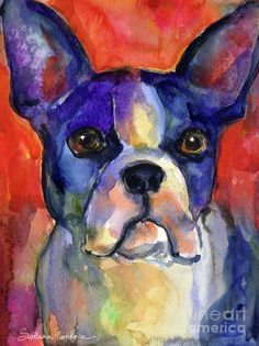 Boston Terrier Dog Painting Painting