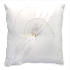 Ring Bearer Pillow - Ribbons & Rhinestones - White