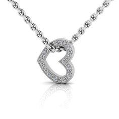 Silver Heart Diamond Pendant And Chain. R2000 Product Code- WN00002