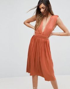 ASOS PREMIUM Deep Plunge Pleated Midi Dress
