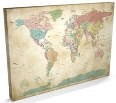 Typographic text world map made from city names canvas art print map of the world antique style canvas art print 22x34 inch a1 gumiabroncs Choice Image