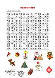 Die Schüler suchen Weihnachtswörter in einem Raster.  - DaF Arbeitsblätter