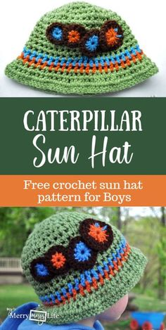 A a free crochet sun hat pattern with a caterpillar for boys! The perfect hat to wear when they're playing outside or going fishing. #crochetsunhat #crochetsunhatfrobabies #crochetcaterpillarsunhat #crochet #crochetpattern #freecrochetpattern #crochetideas #crochetstiches