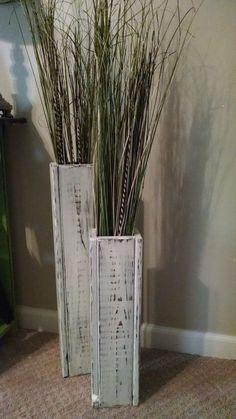 awesome Rustic wood floor vases. Custom sizes. Wedding Decor. Vase Home Decor