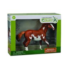 This 1:12 scale model of the Mustang Stallion measures 9.8''L x 7.9''H and comes in a deluxe window box. CollectA horses are created under the supervision of equestrian sculptor Deborah McDermott, who
