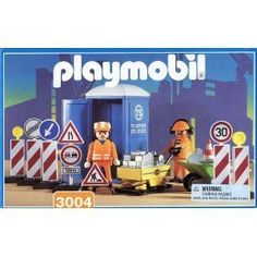 Playmobil 3004-Construction Workers by Playmobil. $62.99. Two Figures. Construction Crew with Road Signs. Porta Potty. Great accessory pieces. Discontinued in 2002. Theme: Construction.