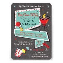 Retro Chalkboard Baby Shower Barbecue Invitation