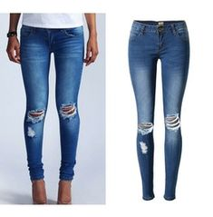 Women's Knee Holes Ripped Faded Skinny Jeans