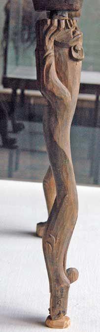 Table with carved lion legs. Pazyryk, Altai, Barrow no. 2, 300-290 BCE. Rudenko 1953, pls. XIX, XX; Rudenko 1970, pls. 50-51.