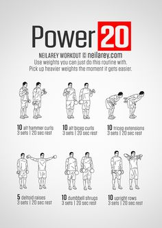 "Neila Rey: ""Power 20"" dumbbell workout Way too easy unless you are using a heavy weight. Pretty basic"
