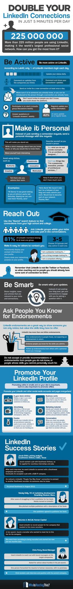 """SOCIAL MEDIA - """"How to Double Your #LinkedIn Connections [INFOGRAPHIC]."""" Not sure if the 'promise' is realistic but some good advice on the management of your Linked'In account to increase contacts and traffic........................................................... Visit Now!  OwnItLand.com"""