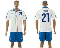 2015-2016 Italy team PIRLO #21 white soccer jersey away