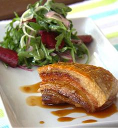 Carly and Tresne my kitchen rules pork belly with citrus sauce and rocket and fennel salad recipe - Better Homes and Gardens - Yahoo!7