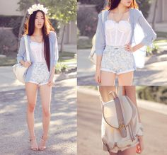 Merrin & Gussy Cross Necklace, I Any Wear Light Blue Chiffon Jacket, Nasty Gal White Lace Bustier, Yeswalker White Faux Leather Backpack, Motel Rocks Paisley Shorts, Nine West Nude Ankle Strap Pumps