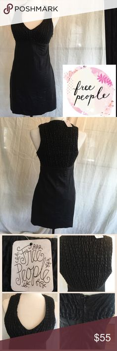NWT Free People Faux Leather V Neck Party Dress NWT size 4 faux leather with roushed/elasticized V top for leeway. Bottom is line stitched throughout. Hem is stitched vertically. Very cute and trendy. Fully lined with side hidden zipper. Hard to find NWT. Free People Dresses Mini