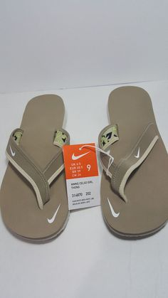 a6c62ea0c685 NWT Women s NIKE Celso Sandals Thong Flip Flop Khaki White Lime Size 9