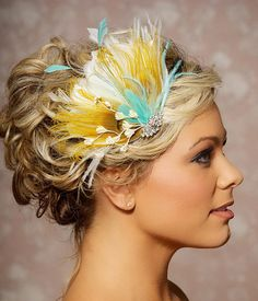 Mustard Yellow Bridal Head Piece Peacock Feather Wedding Hair Accessories Fascinator Wedding Hair Clip - Made to order - JENNY
