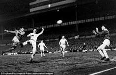 Bill Brown saves in the European Cup Semi Final V Benfica 1962.