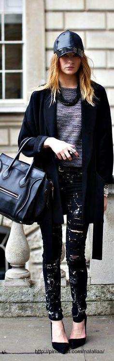 Street style - black Celine bag <3 na