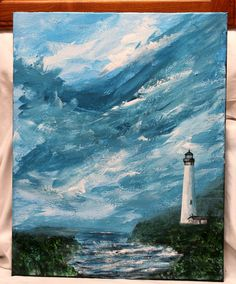 "Lighthouse acrylic painting on 16"" x 20 stretched canvas, unframed art, large art, office art, original canvas art, wall decor, Seascape art by ThisArtToBeYours on Etsy"