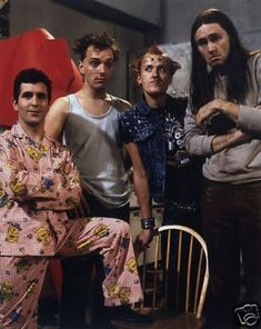 The Young Ones is a British sitcom, broadcast in the United Kingdom from 1982 to 1984 in two six-part series. Shown on it featured anarchic, offbeat humour. In it was shown on MTV as one of the first non-music television shows on the fledgling channel. British Sitcoms, British Comedy, Radios, Bbc, Rik Mayall, British Humor, Classic Comedies, Comedy Tv, Young Ones