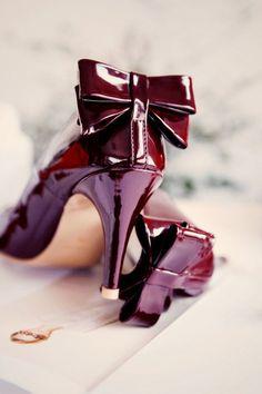 Burgundy - patent leather heels, bow trim