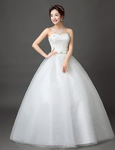 Ball Gown Sweetheart Floor Length Lace Satin Tulle Wedding Dress with Lace 5053204 2017 – $99.99