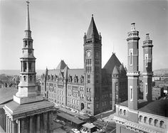 """Recognize this building? It's Cincinnati's City Hall, designed by Samuel Hannaford, Cincinnati's most prominent 19th century architect. The massive granite City Hall building took six years and $1.6 million to construct. This photo is also included in our upcoming exhibit, """"Treasures in Black and White: Historic Photographs of Cincinnati."""" Step back in time and see what life was like through Cincinnati Museum Center's exclusive photograph collection."""