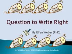 Question to Write Right provides of series of probing questions across both sides of the brain. Writers will engage just the right questions to stir curiosity for all topics they write.  Find here dozens of questions in this 20 page kit, to:  ~ inspire your muse ~ tap into your unique talents ~ grow confidence to write well ~ show readers more than you tell them ~ edit for brilliant results in your best ideas ~ add mental fitness across multiple views