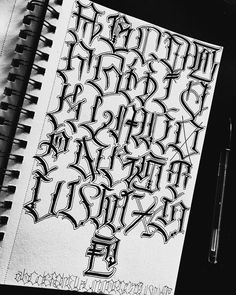 Tattoo Lettering Alphabet, Chicano Tattoos Lettering, Tattoo Lettering Styles, Graffiti Lettering Fonts, Lettering Design, Hand Lettering, Calligraphy Fonts Alphabet, Letter Tattoos, Hand Tattoos