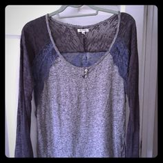 Lace top, sheer sleeves Blue/gray light weight long sleeve top, lace on sleeves and back Buffalo Tops Tees - Long Sleeve
