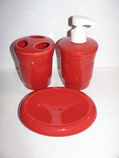 Scarlet Fiesta® Toothbrush Holder, Soap/Lotion Dispenser & Soap Dish made by Homer Laughlin China Company   eBay