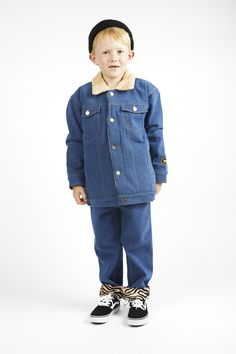 Erland is 120 cm and wears Peggy Denim jacket in size and Rodney Jeans in size One Drop, Ever After, Cute Kids, Little Ones, Work Wear, Skateboard, High Fashion, Unisex, Denim