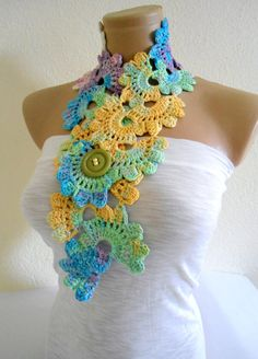 Crocheted Multi Color Bamboo Lace by likeknitting