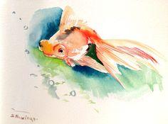 Goldfish Painting, aquarium art, Koi Fish, 12 x 9 in, asian art, Zen Art by ORIGINALONLY on Etsy https://www.etsy.com/listing/241045860/goldfish-painting-aquarium-art-koi-fish