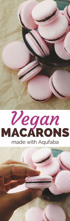 Another pinner: These beautiful macarons are vegan! I made mine with earl grey tea ganache and blackberry jam in the middle. Superb! http://theblenderist.com/vegan-macarons-aquafaba-recipe/
