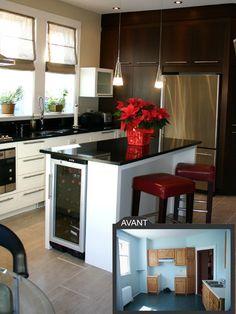 Rénovation d'une cuisine aux lignes épurées- Rénovation d'une cuisine avec céramiques au sol et au dado, des armoires de bois et de lacque,comptoir de granit. Une nouvelle fenêtre a de plus été installée.