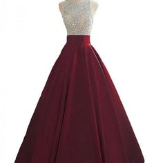 long prom dresses - Wine Red Sequins and Beaded Backless Satin Formal Gown, Handmade Party Dress 2019 Pretty Prom Dresses, Grad Dresses, Prom Party Dresses, Ball Dresses, Dance Dresses, Homecoming Dresses, Cute Dresses, Ball Gowns, Evening Dresses