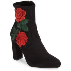 Women's Steve Madden Edition Embroidered Bootie ($130) ❤ liked on Polyvore featuring shoes, boots, ankle booties, black suede, black ankle boots, block heel booties, black ankle booties, tall boots and short black boots