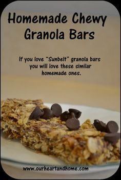 """Chewy Granola Bar Recipe - Similar to """"Sunbelt"""" granola bars these homemade granola bars are full of natural healthy ingredients. With almond or even soy butter and GF oats they can be allergy friendly too!"""